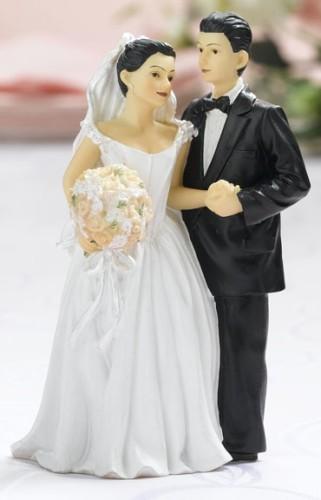Caucasian Blonde Bride Brunette Groom Cake Topper Top Dance Wedding ...