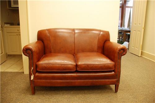 English Leather Sofa Thickest Genuine Saddle Leather (Bull) Loveseat  Furniture