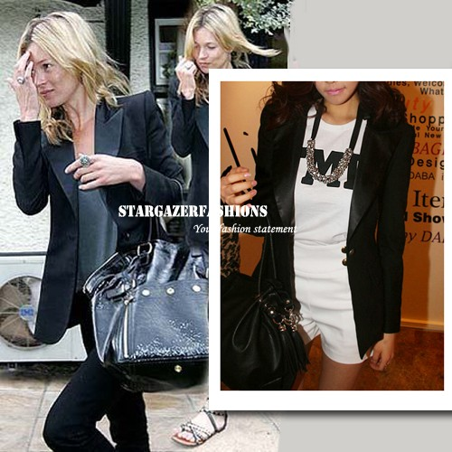 KATE MOSS Strong Shoulder Boyfriend Blazer