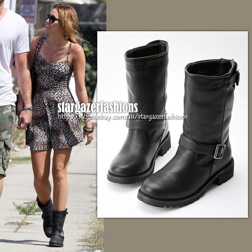 MILEY Cyrus Biker Buckle Belted Boots