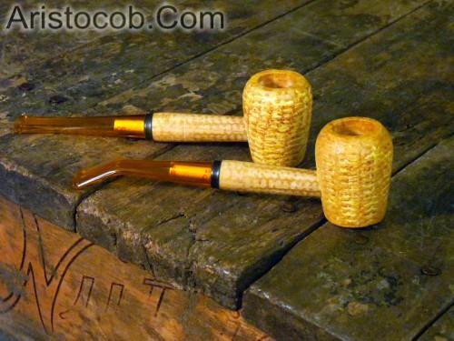 Aristocob Missouri Meerschaum Corn Cob Pipe Tobacco Smoking Legend Pair