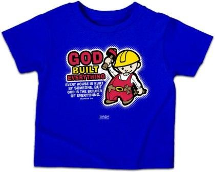 Kerusso Christian God The Builder 2 T-Shirt - 3T, 4T, 5T, Small, Medium, Large