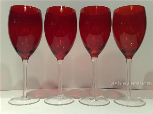 Red Glass Wine Glasses