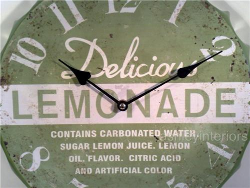 Retro Lemonade Bottle Top Wall Clock