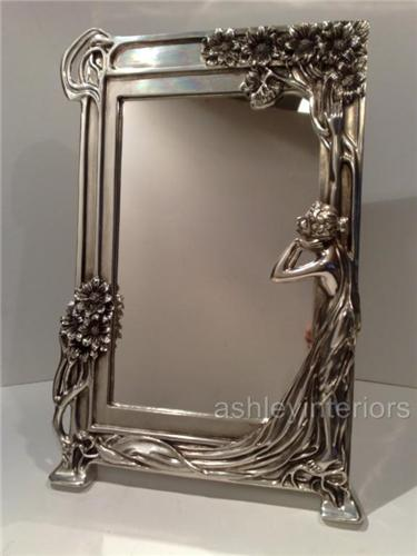 Art Nouveau Silver Lady Mirror, dressing mirror, wall mirror ...
