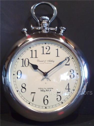 Daniel & Ashley Nickel Pocket Watch Wall Clock