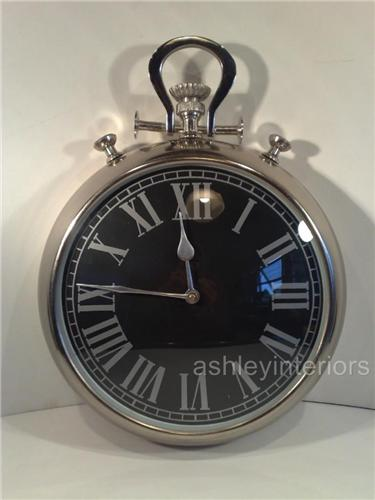 Chrome Pocket Watch Wall Clock