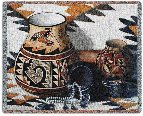 Kokopelli Pottery Throw Blanket.jpg