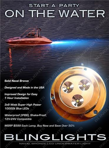 1 x Blue LED Bronze Hull Lamp Yacht Underwater Light Marine Fish Boat Lighting