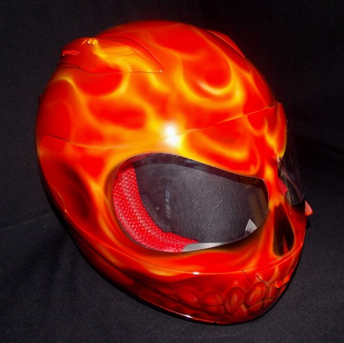 Custom Painted Airbrushed Flaming Red Skull Motorcycle ...
