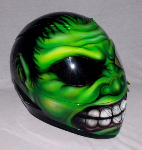 Custom 3d Painted Airbrush Motorcycle Helmet Hulk Monster