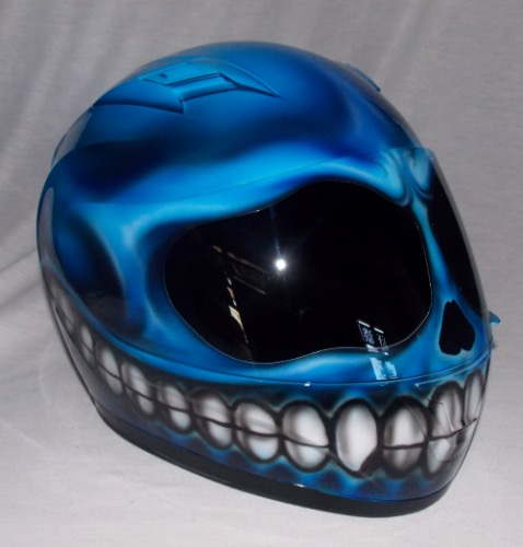 Custom Airbrush Painted Motorcycle Motorbike Helmet Skull ...