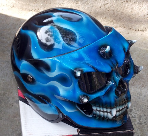 Full Motorcycle Helmet >> Custom Motorcycle Helmet Skull Blue Fire Skeleton Death Ghost Rider Visor DOT - Motorcycle Retro ...