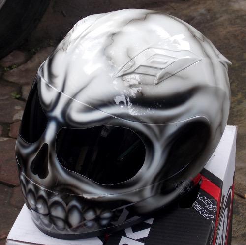 Custom Airbrush Painted motorcycle helmet Skull Death ...