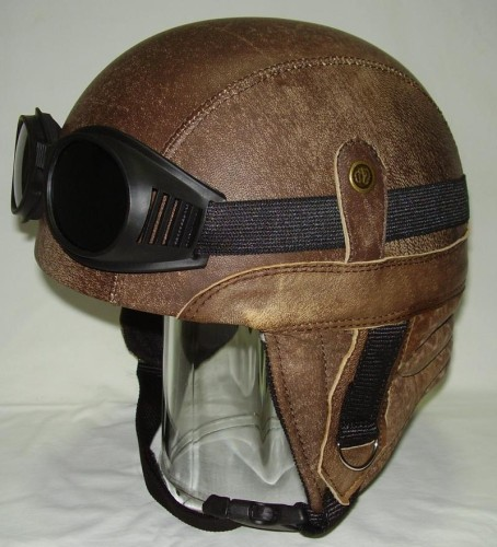 Motorcycle Helmet Retro Chopper Real Leather Antique ...