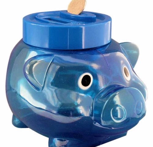 Digital coin counting blue piggy bank pig cute money for Cute money saving jars