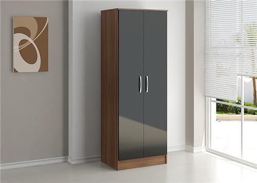 Lynx high gloss black and walnut 2 door bedroom wardrobe The range high gloss living room furniture