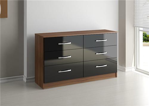 lynx high gloss black and walnut 6 drawer midi dresser chest robinsons furniture. Black Bedroom Furniture Sets. Home Design Ideas