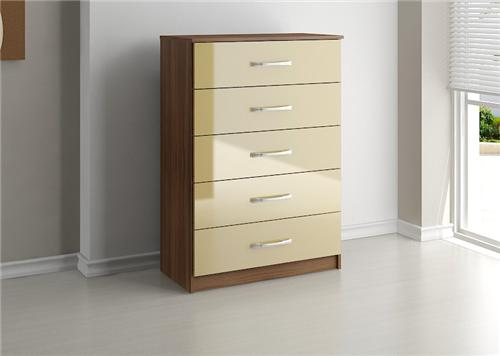 Lynx high gloss cream and walnut 5 drawer large chest of - Walnut and black gloss living room furniture ...