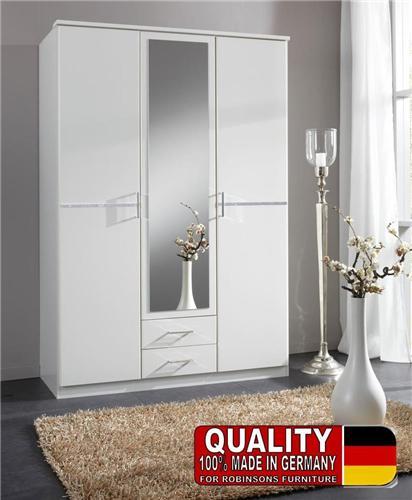 Bijoux German 3 Door Wardrobe White Crystal Rhinestone
