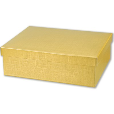 Large Gold Silk Rectangular Gift Box with Lid (34x32x11cm )(pk of ...