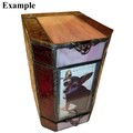 Pet Memorial for Urn Cremains with drawer Stained Glass