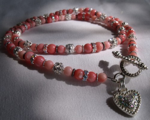 Handmade Pink Coral Pet Necklace