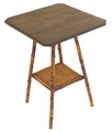 Antique bamboo and leather side hall lamp table Liberty