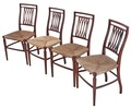 Antique set of 4 Victorian 19C mahogany kitchen dining chairs