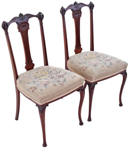 Antique pair of J. Shoolbred mahogany hall side bedroom chairs