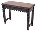 Antique 19C Victorian carved oak hall side writing table desk
