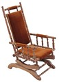 Antique 19C Victorian American walnut beech oak rocking chair
