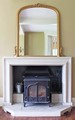 Antique large Victorian gilt wood wall mirror overmantle
