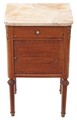 Antique French mahogany walnut marble bedside cupboard table cabinet
