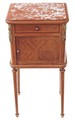 Antique French mahogany walnut ormolu marble bedside cupboard table cabinet