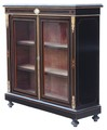Antique Victorian Aesthetic ebonised inlaid display pier cabinet bookcase