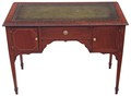 Antique Quality Edwardian inlaid mahogany leather desk writing table