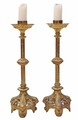Antique pair church floor standing ormolu brass candlesticks