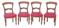 Antique set of 4 Victorian mahogany balloon back dining chairs