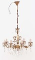 Antique 8 lamp ormolu brass bronze onyx crystal chandelier FREE DELIVERY