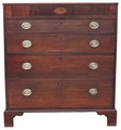 Antique Georgian 19C inlaid oak chest of drawers