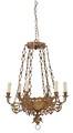 Antique 6 lamp hanging ormolu brass bronze chandelier FREE DELIVERY