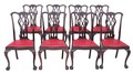 Antique set of 8 mahogany Chippendale dining chairs
