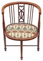 Antique Edwardian inlaid mahogany beech corner chair tub side hall bedroom
