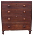 Antique Early Victorian 19C oak chest of drawers