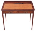 Antique Quality Edwardian walnut leather desk writing table