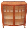 Antique walnut Art Deco glazed display cabinet