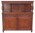 Antique oak Jacobean Gothic revival buffet sideboard