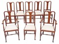 Antique set of 8 (6+2) Queen Anne revival mahogany dining chairs