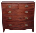 Antique Georgian 19C flame mahogany bow front crossbanded chest of drawers